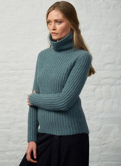 Fisherman Ribbed Polo Neck Sweater