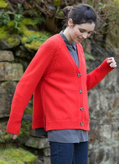 Fisherman V-Neck Raglan Cable Cardigan