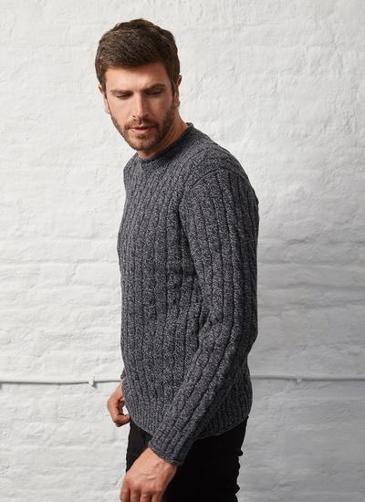 Fisherman Wool Cashmere Cable & Rib Roll Neck Sweater