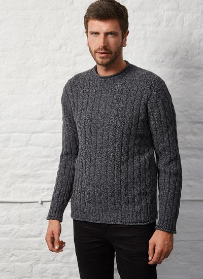 Fisherman Wool Cashmere Cable & Rib Crew Neck Sweater
