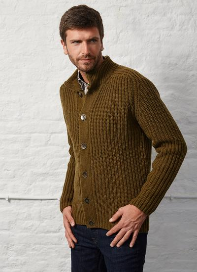 Fisherman Wool Cashmere Ribbed Cardigan