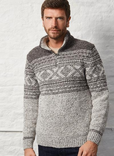 Fisherman Zip Neck Sweater With Jacquard Pattern