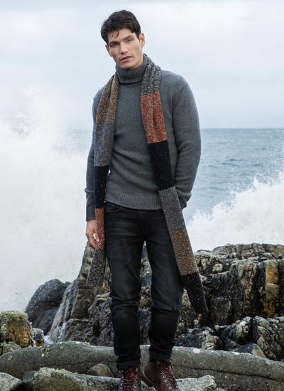 Fisherman Donegal Fleck Color Block Scarf - Newsboy