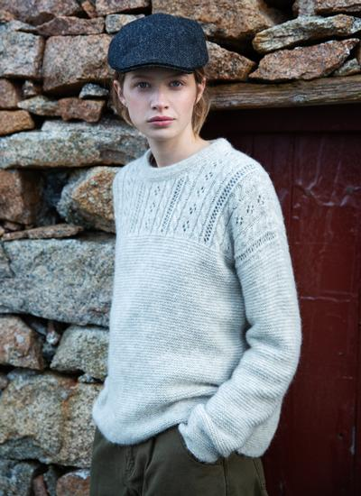 Fisherman Eyelet Stitch Crew Neck Sweater