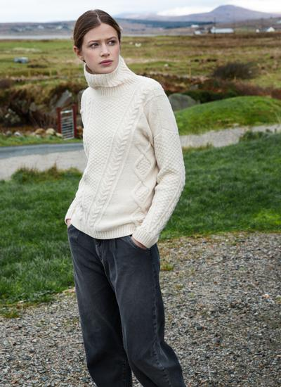 Fisherman Lambswool Funnel Neck Aran Sweater