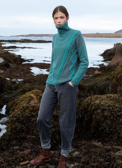 Fisherman Lambswool Plated Polo Neck Sweater