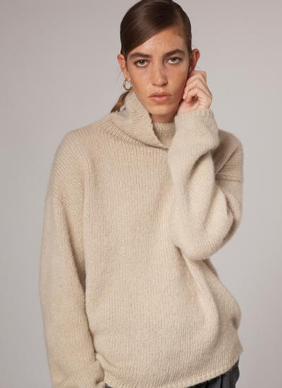 Fisherman Slouchy Funnel Neck Sweater
