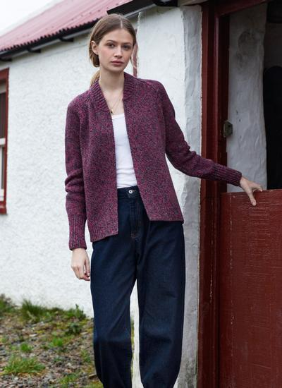 Fisherman Wool Cashmere Ribbed Cuff Cardigan