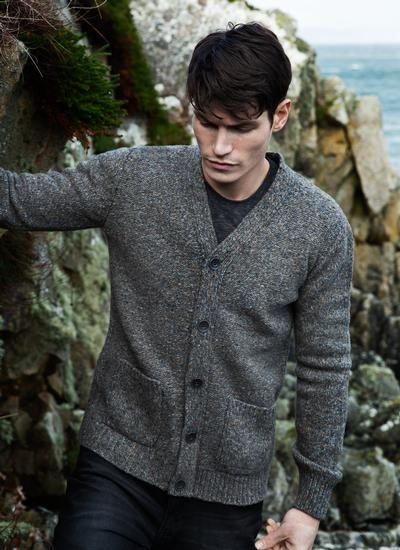 Fisherman Wool Cashmere V-Neck Cardigan