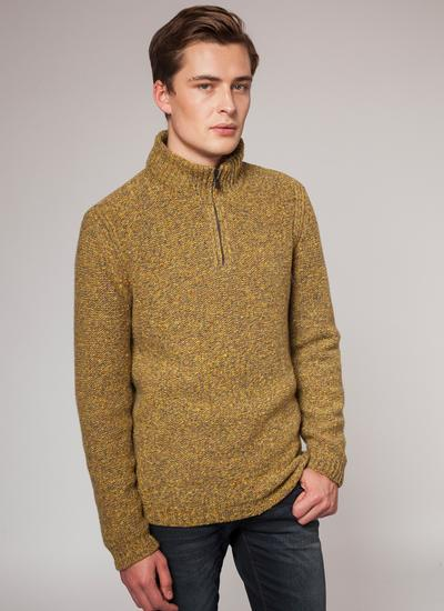 Fisherman Wool Cashmere Zip Neck Sweater