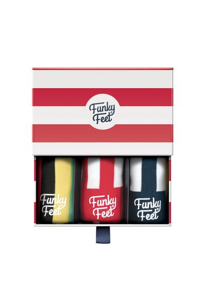 Funky Feet 3 Pack Wide Stripe Socks