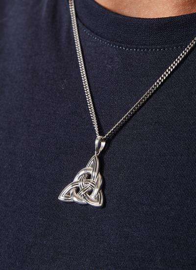 Gents Sterling Silver Trinity Knot Pendant