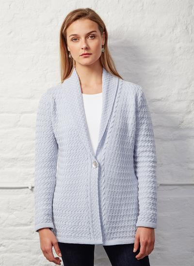 Glangevlin One Button Lattice Weave Cardigan