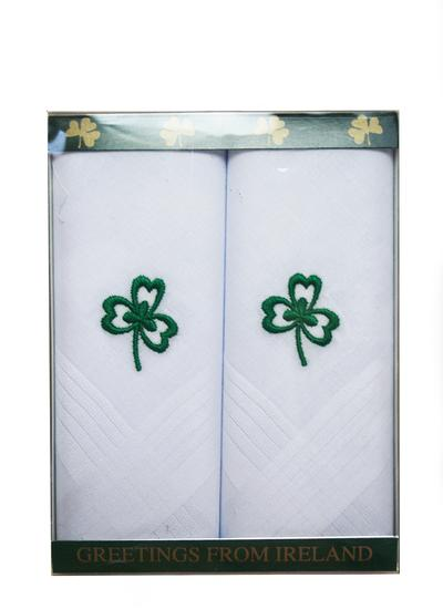 Green Shamrock Gents Handkerchiefs Set of 2