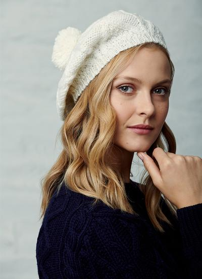 Hand-Knit Tam Hat Natural