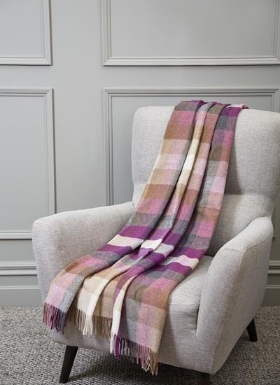 Harlequin Check Lambswool Throw