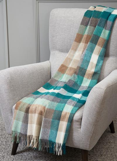 Harlequin Eucalyptus Lambswool Throw