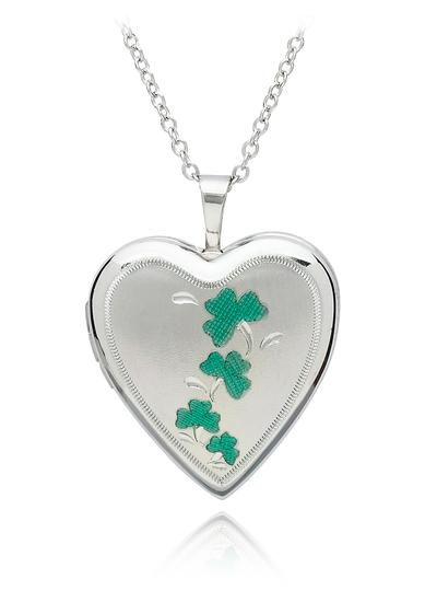 Sterling Silver Heart Shamrock Locket