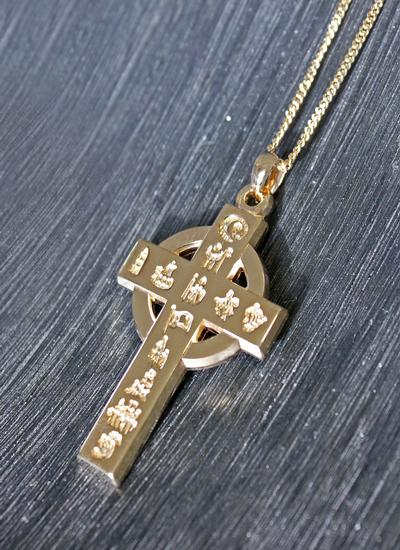 14K Gold History Of Ireland Large Cross Pendant
