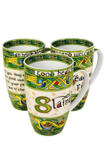 Irish Celtic Design Mugs Set of 3
