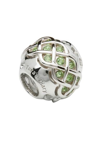 Intricate Celtic Knot Bead Adorned With Green Peridot Swarovski Crystals