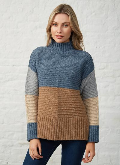 Iris Contrast Panel Funnel Neck Sweater