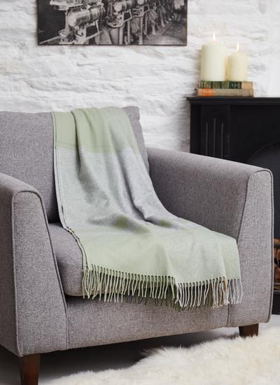 Irish Bug Green Cashmere Throw