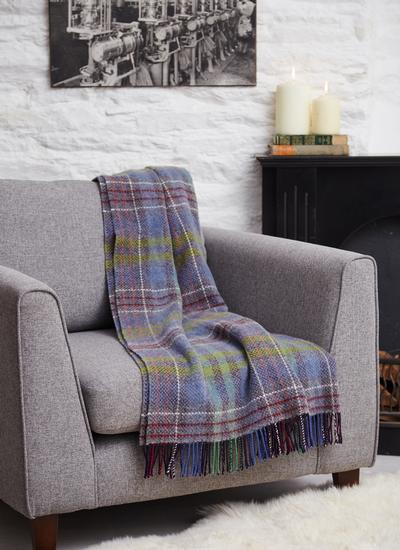 Irish Country Check Wool Cashmere Throw