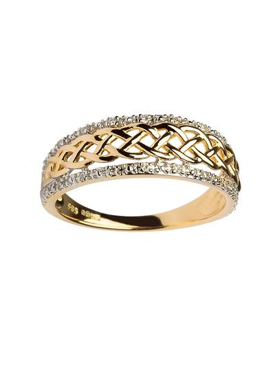 Ladies 14K Gold Celtic Knot Diamond Ring