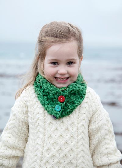 Kids Aran Button Infinity Scarf