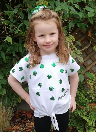 Kids Shamrock Sequin Knot T-Shirt
