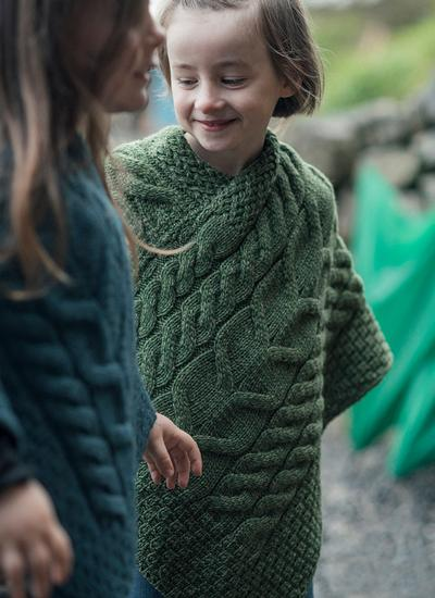 Kids Supersoft Merino Wool Cable Poncho