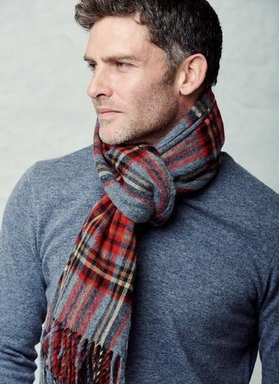 Kildwick Grey & Red Scarf