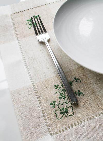 Kinsale Shamrock Embroidered Tray Cloth