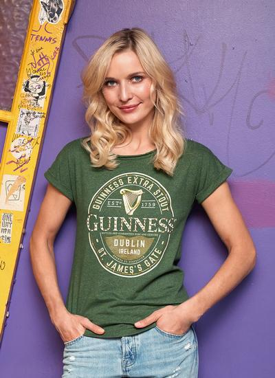 Ladies Guinness Label Moss Green Stud T-Shirt