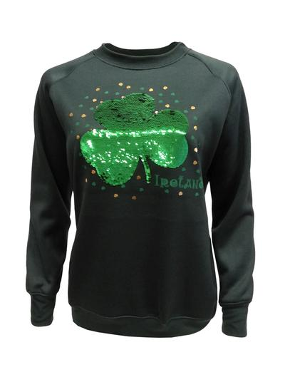 Ladies Reversible Sequin Shamrock Sweatshirt