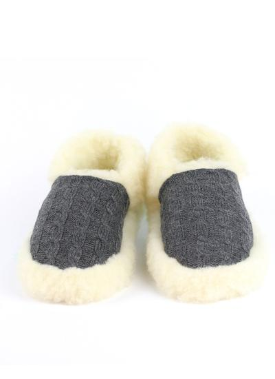 Ladies Wool Aran Slippers