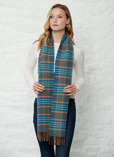 Lambswool Scarf Blue Check