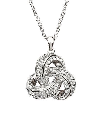 Large Trinity Knot Pendant Adorned with Swarovski Crystals