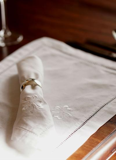 White Shamrock Table Linens