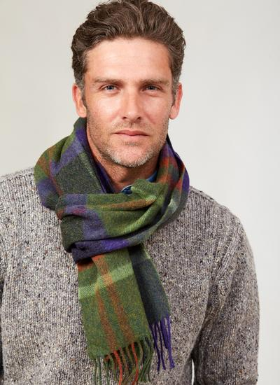 Long Lambswool Scarf Green Check