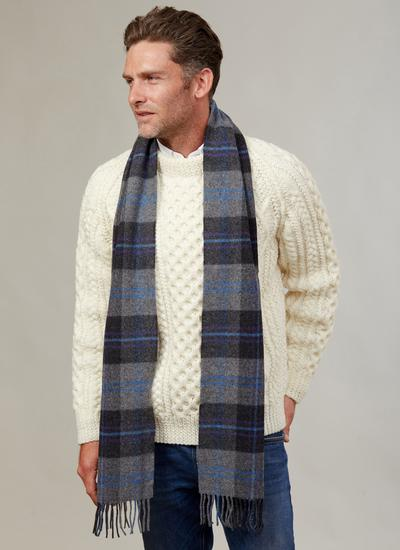 Long Lambswool Scarf Grey Check