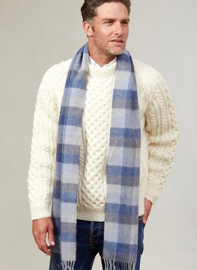 Long Lambswool Scarf Sky Blue Check