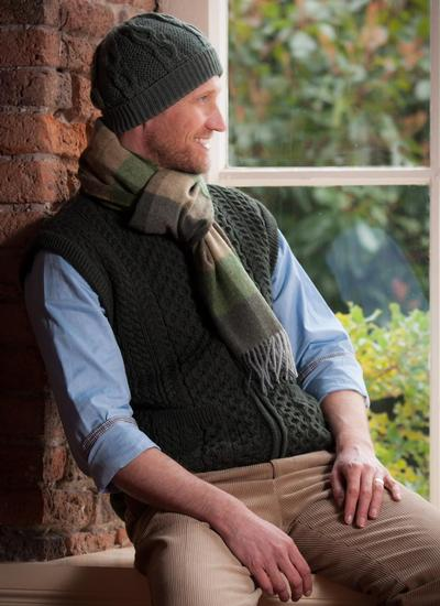 Lambswool Scarf Green Check