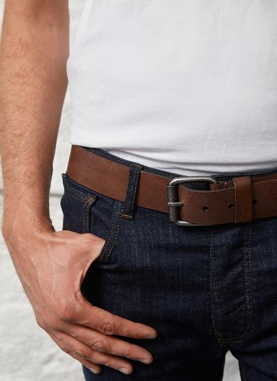 Men's Dark Brown Leather Belt