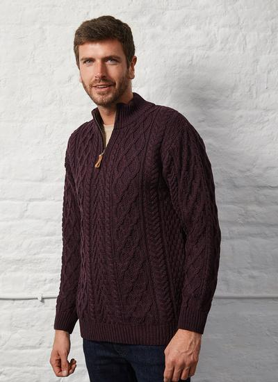 Cian Wool Half Zip Aran Sweater