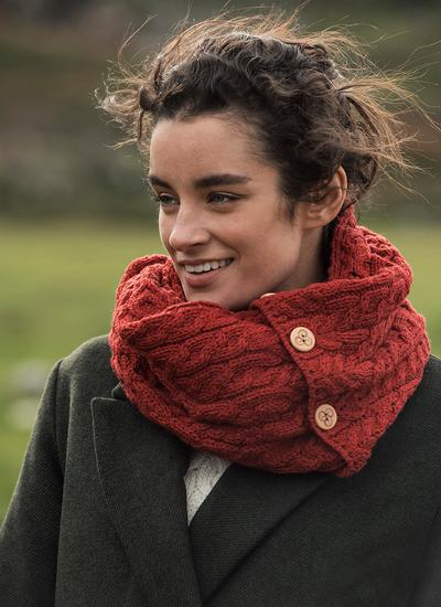 Merino Wool Button Infinity Scarf