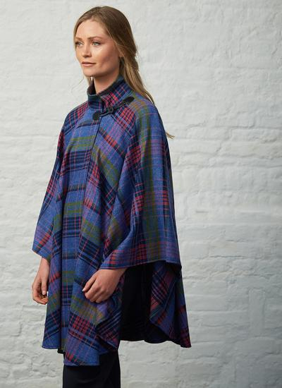 Multi Stripe Tweed Cape