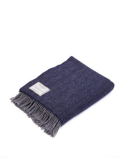 Navy Herringbone Wool Cashmere Throw