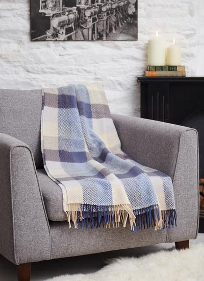 Ocean Check Herringbone Wool Cashmere Throw